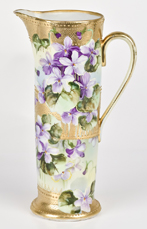 Nippon Tankard with Gold Beadwork & Violets