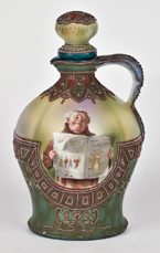 Moriage Nippon Wine Jug with Monk