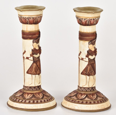 Rare Nippon Molded in Relief Egyptian Candlesticks