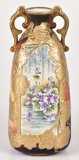 Nippon Tapestry Vase with Heavy Gold Overlay