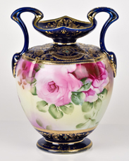 Nippon Cobalt Blue Vase with Gold Decoration