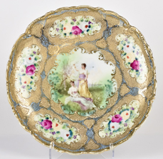 Nippon Portrait Plate with Gold Beadwork