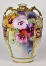 Nippon Vase with Pansy Decoration