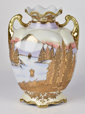 Nippon Vase with Heavy Gold Pine Trees
