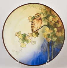 Nippon Owl Plaque with Enameled Leaves