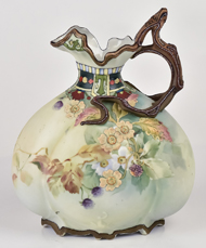 Nippon Ewer with Unusual Enamel Flowers