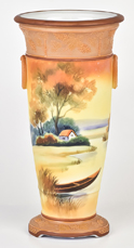 Nippon Scenic Vase with Loop Handles