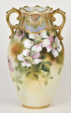 Nippon Floral Vase with Beaded Gold Design