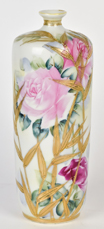 Nippon Vase with Roses and Gold Leaves