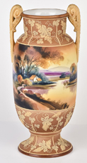 Nippon Scenic Vase with Butterscoth Enamel Work