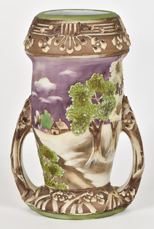 Nippon Vase With Heavy Enamel Woodland Scene