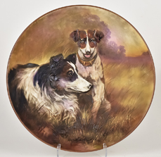 Nippon Plaque with Molded in Relief Dogs