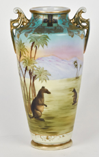 Scarce Nippon Scenic Vase with Kangaroos