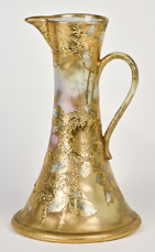 Large Scenic Nippon Ewer with Heavy Gold